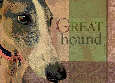 Whippet Digital Art - Great Greyhound by Wendy Presseisen