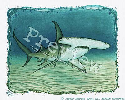 Aquatic Life Painting - Great Hammerhead Shark  by Amber Marine