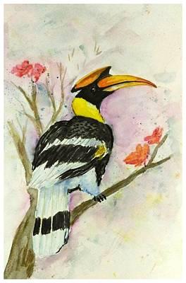 Hornbill Painting - Great Hornbill by Anwar Sahib