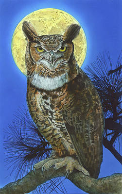 Painting - Great Horned Owl 2 by John Dyess