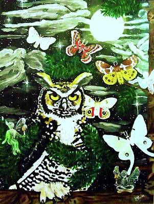 Fae Art Mixed Media - Great Horned Owl And The Fae- Sold by Christina Marin