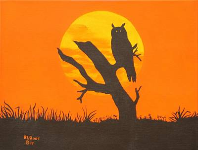 Painting - Great Horned Owl At Sunset by Ralph Root