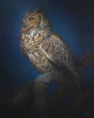 Digital Art - Great Horned Owl Caught In The Moonlight by Teresa Wilson