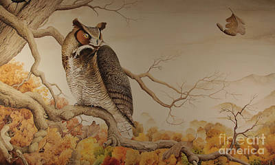 Painting - Great Horned Owl by Charles Owens