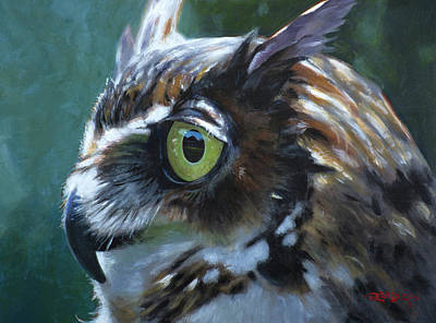 Painting - Great Horned Owl by Christopher Reid