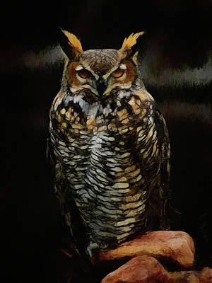 Digital Art - Great Horned Owl Da by Ernie Echols