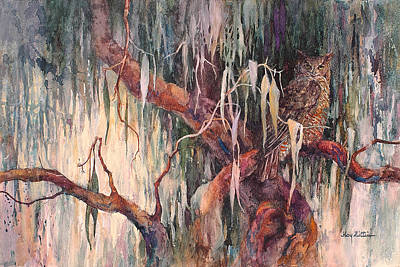 Wall Art - Painting - Great Horned Owl by Floy Zittin