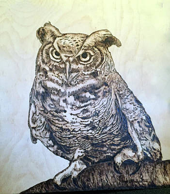 Woodburning Pyrography - Great Horned Owl by James Pinkerton
