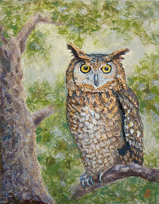 Painting - Great Horned Owl by Joe Bergholm