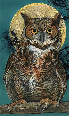 Painting - Great Horned Owl by John Dyess