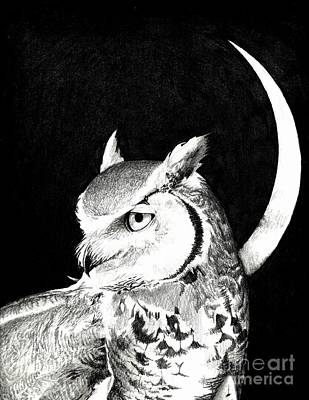 Great Horned Owl Drawing - Great Horned Owl Moon by June Piety