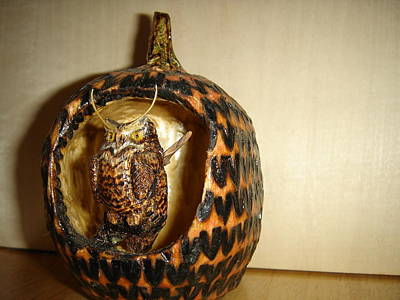 Pyrography - Great Horned Owl On Branch Pumpkin by Dakota Sage