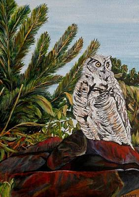 Art Print featuring the painting Great Horned Owl - Owl On The Rocks by Marilyn  McNish