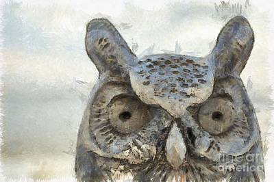 Photograph - Great Horned Owl Pencil by Edward Fielding