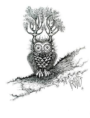 Drawing - Great Horned Owl by Rick Frausto