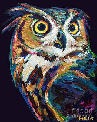 Painting - Great Horned Owl by Robert Phelps