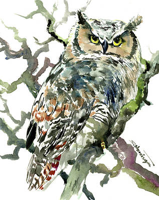 Painting - Great Horned Owl by Suren Nersisyan