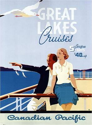 Mixed Media - Great Lakes Cruises - Canadian Pacific - Retro Travel Poster - Vintage Poster by Studio Grafiikka