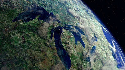 Photograph - Great Lakes Region From Space by Daniel Hagerman