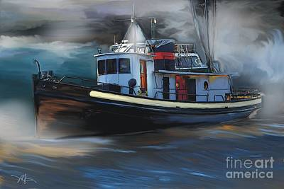 Tugboat Wall Art - Painting - Great Lakes Tugboat by Bob Salo