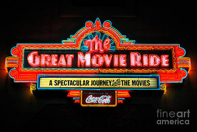 Vivid Digital Art - Great Movie Ride Neon Sign Hollywood Studios Walt Disney World Prints Ink Outlines by Shawn O'Brien