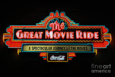 Photograph - Great Movie Ride Neon Sign Hollywood Studios Walt Disney World Prints by Shawn O'Brien