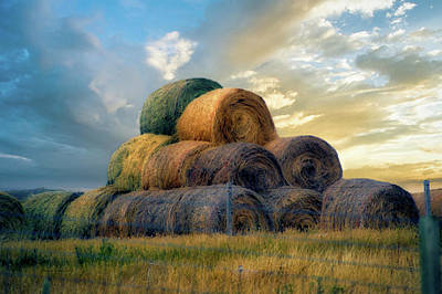 Photograph - Great Plains Farming Hayrolls 13 by Thomas Woolworth