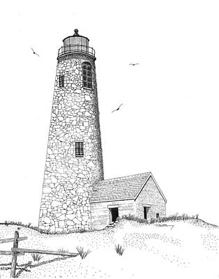 Sand Fences Drawing - Great Point Lighthouse by Tim Murray
