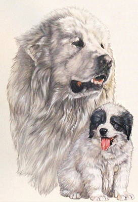 Mixed Media - Great Pryenees And Pup by Barbara Keith
