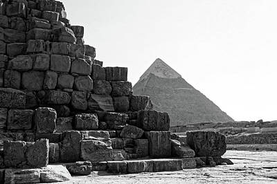 Photograph - Great Pyramids, Khafre Black And White by Darcy Michaelchuk