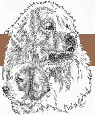 Mixed Media - Great Pyrenees And Pup by Barbara Keith