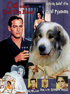 Painting - Great Pyrenees - Pyrenean Mountain Dog Art Canvas Print - Cat On A Hot Tin Roof Movie Poster by Sandra Sij