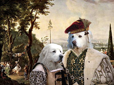 Painting -  Great Pyrenees - Pyrenean Mountain Dog Art Canvas Print - The Ceremony In Palace Park by Sandra Sij