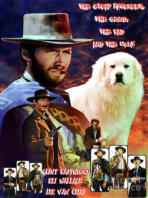 Painting - Great Pyrenees - Pyrenean Mountain Dog Art Canvas Print - The Good, The Bad And The Ugly Movie  by Sandra Sij