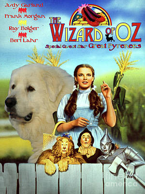 Painting - Great Pyrenees - Pyrenean Mountain Dog Art Canvas Print - The Wizard Of Oz Movie Poster by Sandra Sij