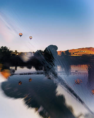 Photograph - Great Reno Balloon Race Double Exposure And Reflection Of Ducks And Balloons In Pond At Sunrise by Brian Ball