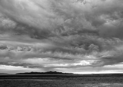 Great Salt Lake Clouds At Sunset - Black And White Art Print