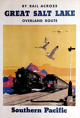 Train Mixed Media - Great Salt Lake, Utah - Southern Pacific - Retro Travel Poster - Vintage Poster by Studio Grafiikka