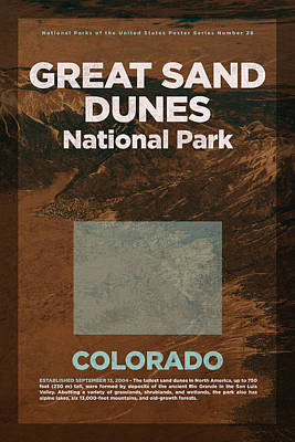 Great Sand Dunes National Park In Colorado Travel Poster Series Of National Parks Number 26 Art Print