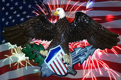 Great Seal Of The United States-fireworks Art Print by Carol Sue Bushell-Bousman