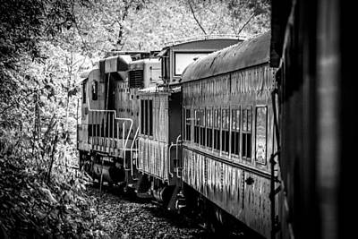 Photograph - Great Smokey Mountain Railroad Looking Out At The Train In Black And White by Kelly Hazel