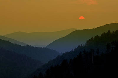 Photograph - Great Smoky Mountain Sunset by Expressive Landscapes Fine Art Photography by Thom