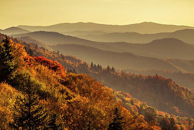Photograph - Great Smoky Mountains Hazy Fall by Teri Virbickis