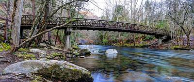 Photograph - Great Smoky Mountains National Park Carriage Bridge Over The Ocanaluftee River by Carol Montoya