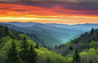 Great Smoky Mountains National Park Gatlinburg Tn Scenic Landscape Art Print by Dave Allen
