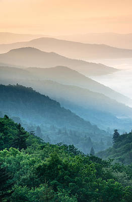 Photograph - Great Smoky Mountains National Park Oconaluftee River Valley Sunrise by Mark VanDyke
