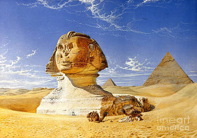 Photograph - Great Sphinx And Pyramids, Giza, Egypt by Wellcome Images