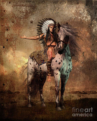 Western Art Mixed Media - Great Spirit Chief by Shanina Conway