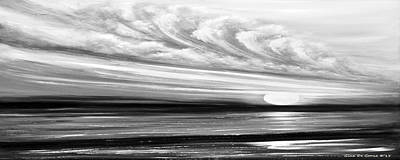 Painting - Great Spirit - Panoramic Black And White Sunset by Gina De Gorna