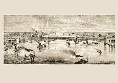 Great Steel Bridge Crossing Mississippi Print by Vintage Design Pics